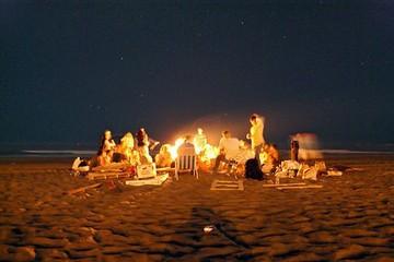beach picnic at night